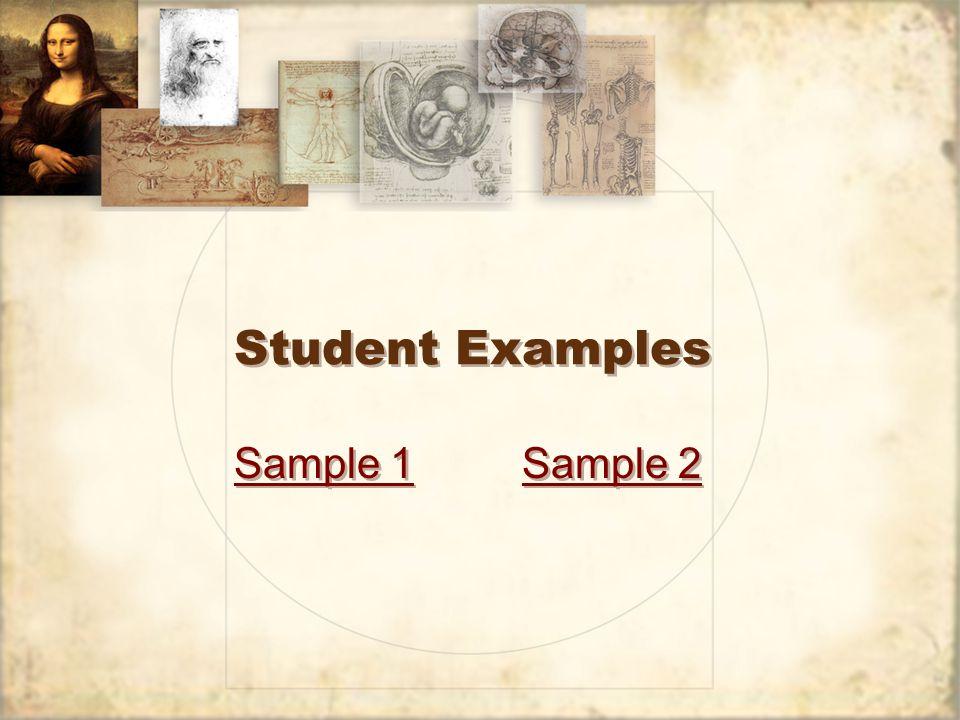 Student Examples Sample 1Sample 2 Sample 1Sample 2
