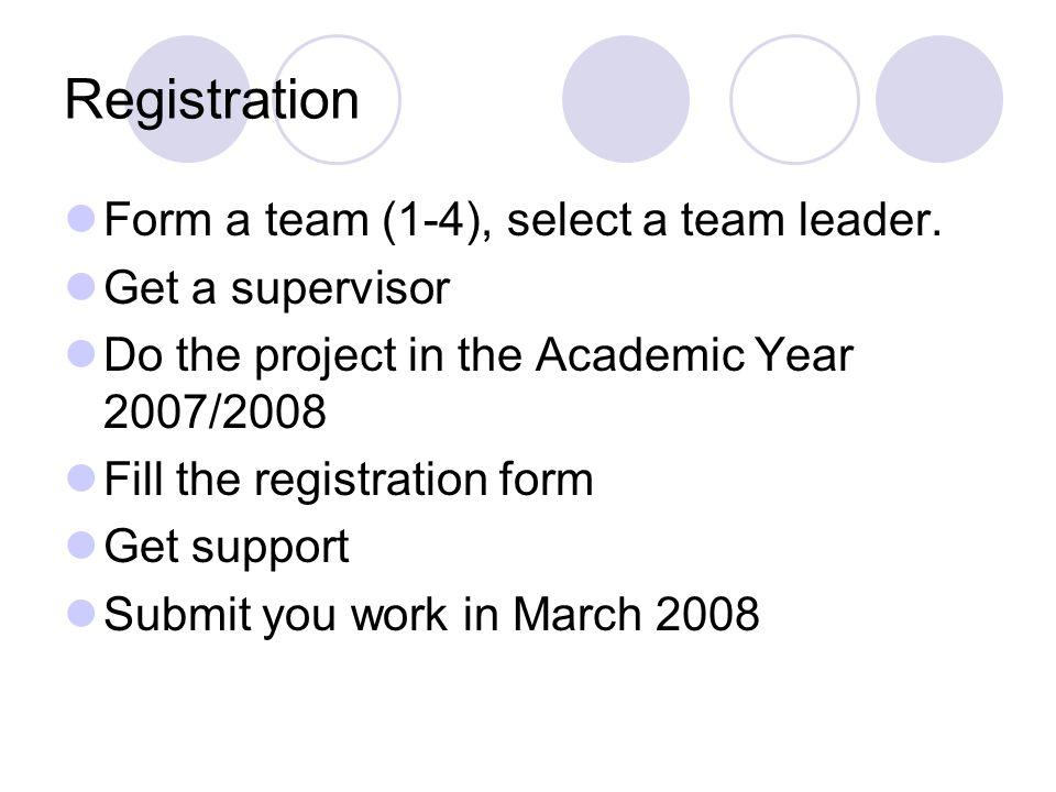 Registration Form a team (1-4), select a team leader.