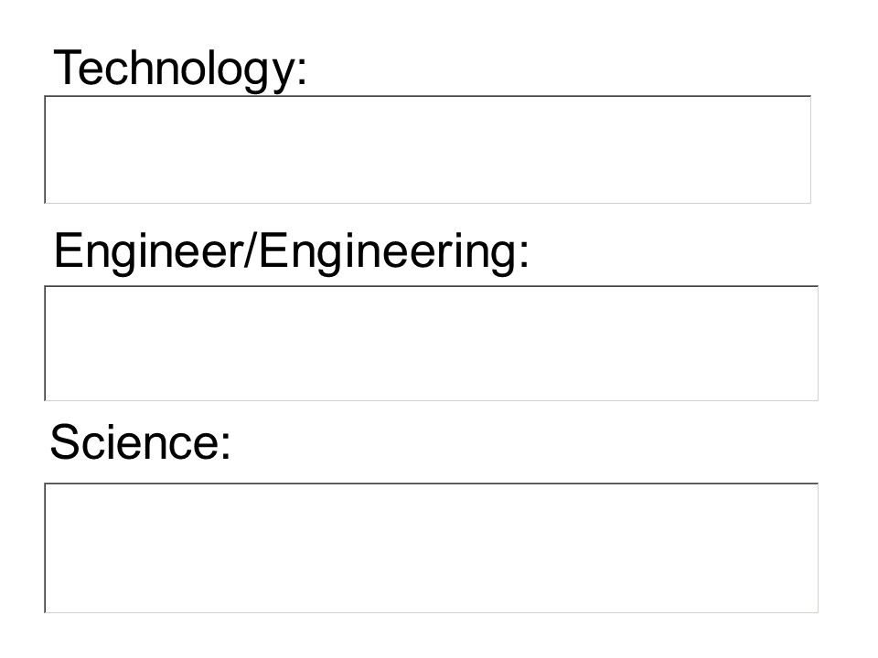 Science: Technology: Engineer/Engineering: