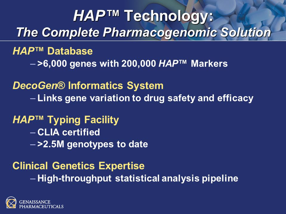 HAP Technology Partnerships Business Model License fees License fees Service fees for processing clinical samples Service fees for processing clinical samples Success-based milestone payments Success-based milestone payments Drug and diagnostic royalties Drug and diagnostic royalties