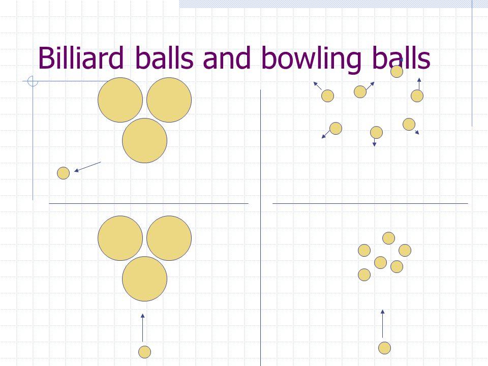 Billiard balls and bowling balls