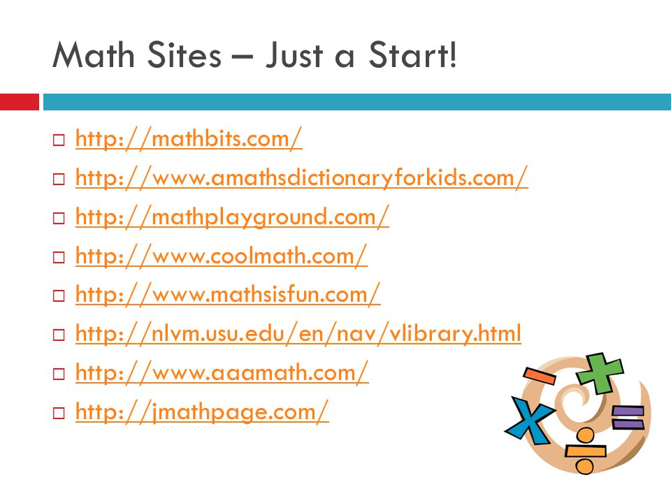 Math Sites – Just a Start.