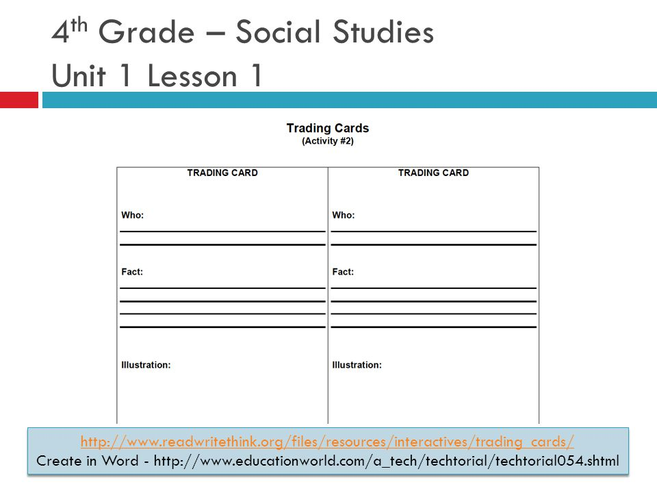 4 th Grade – Social Studies Unit 1 Lesson 1 http://www.readwritethink.org/files/resources/interactives/trading_cards/ Create in Word - http://www.educationworld.com/a_tech/techtorial/techtorial054.shtml http://www.readwritethink.org/files/resources/interactives/trading_cards/ Create in Word - http://www.educationworld.com/a_tech/techtorial/techtorial054.shtml