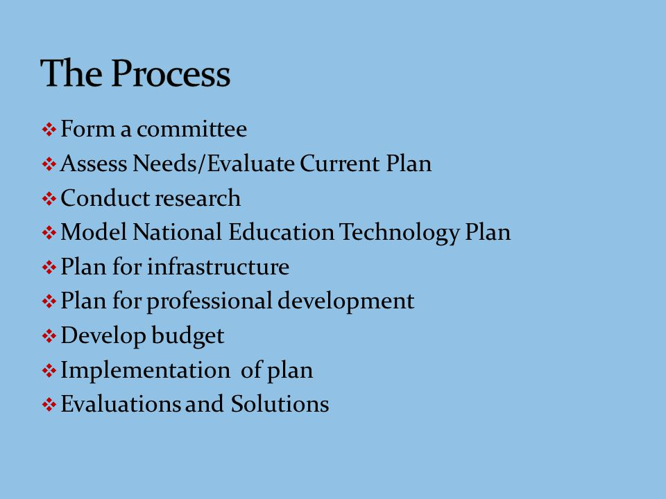 Because the district has a new Technology Director with a vision for making improvements, there is much work to be done to update the plan using the following steps: Assess current needs An inventory of the infrastructure, hardware, software, and other technology tools will be conducted.