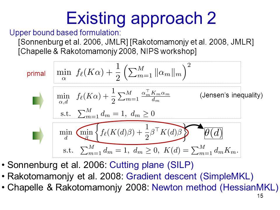 Existing approach 2 15 Upper bound based formulation: [Sonnenburg et al. 2006, JMLR] [Rakotomamonjy et al. 2008, JMLR] [Chapelle & Rakotomamonjy 2008,