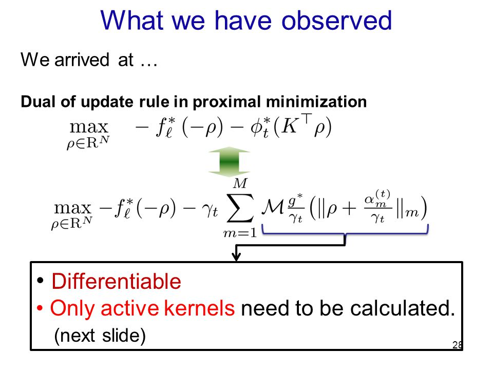 28 We arrived at … Dual of update rule in proximal minimization Differentiable Only active kernels need to be calculated. (next slide) What we have ob