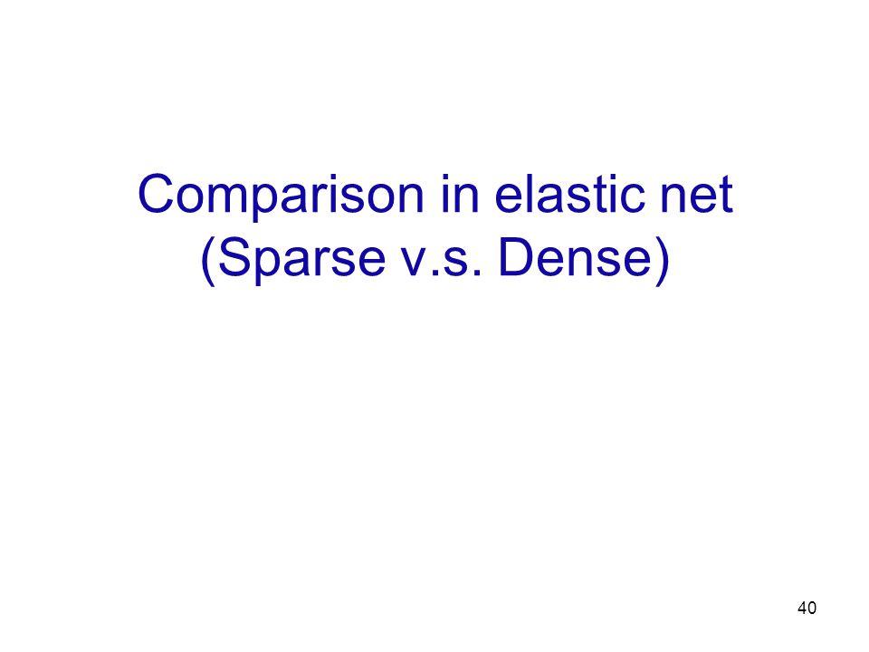 40 Comparison in elastic net (Sparse v.s. Dense)