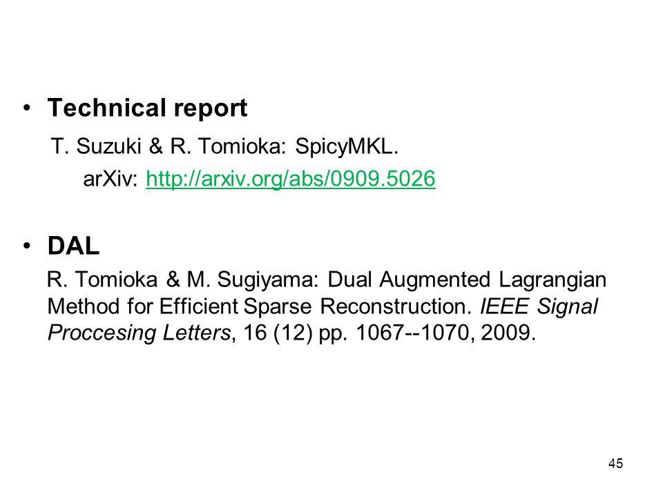Technical report T. Suzuki & R. Tomioka: SpicyMKL. arXiv: http://arxiv.org/abs/0909.5026 DAL R. Tomioka & M. Sugiyama: Dual Augmented Lagrangian Metho