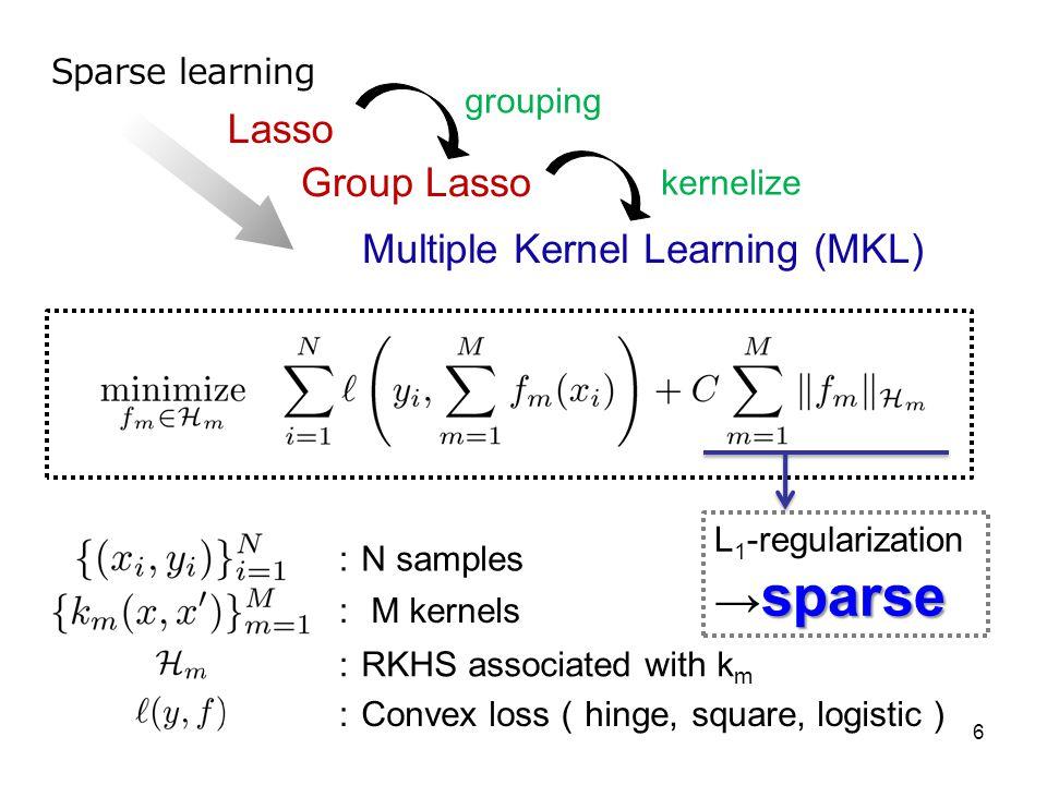6 Lasso Group Lasso Multiple Kernel Learning (MKL) grouping kernelize Sparse learning N samples M kernels RKHS associated with k m Convex loss hinge,