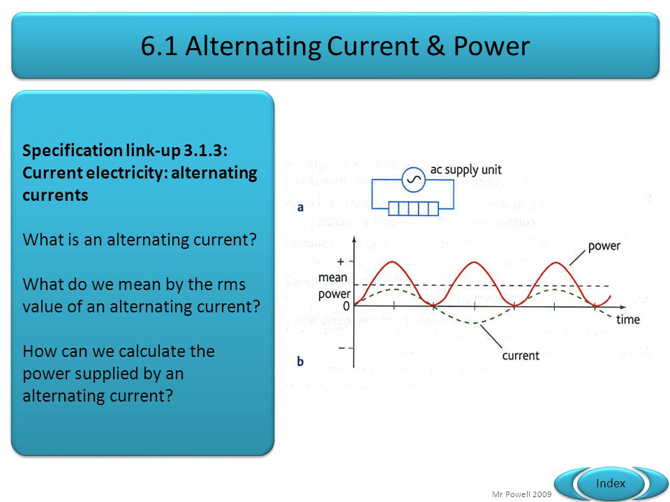 Mr Powell 2009 Index 6.1 Alternating Current & Power Specification link-up 3.1.3: Current electricity: alternating currents What is an alternating current.