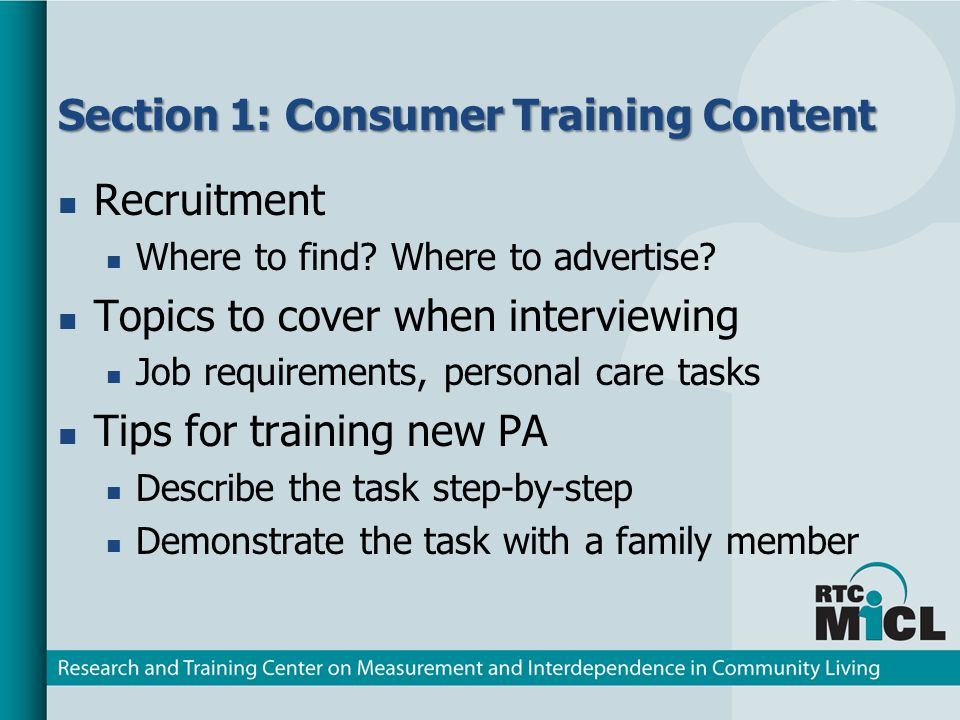 Section 1: Consumer Training Content Recruitment Where to find.