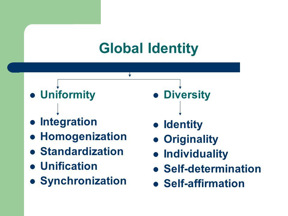 Uniformity Integration Homogenization Standardization Unification Synchronization Diversity Identity Originality Individuality Self-determination Self-affirmation