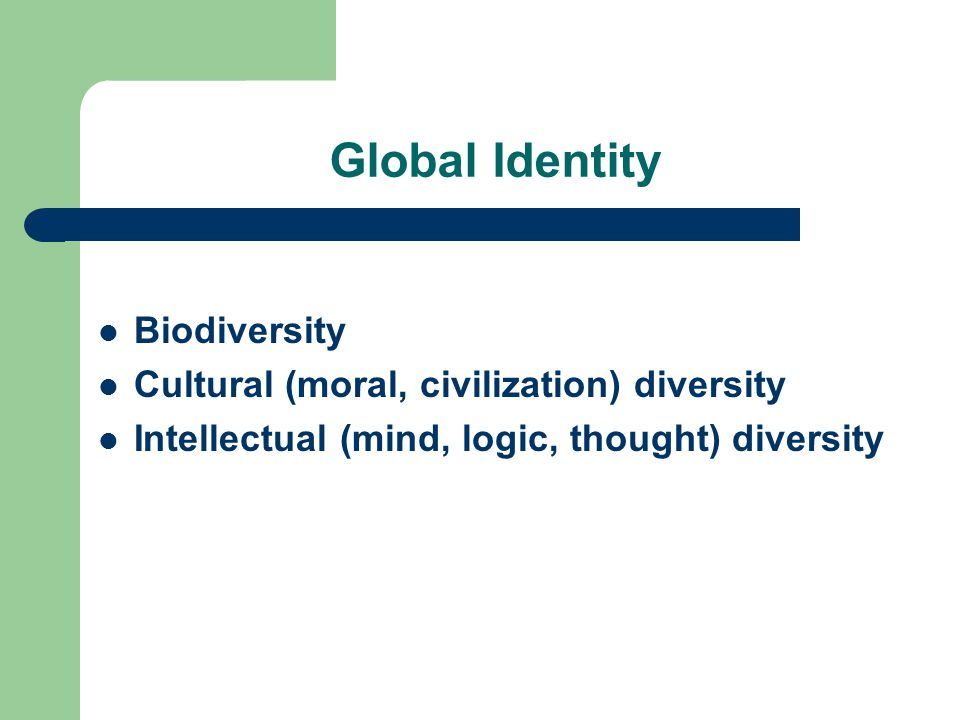 Global Identity Biodiversity Cultural (moral, civilization) diversity Intellectual (mind, logic, thought) diversity