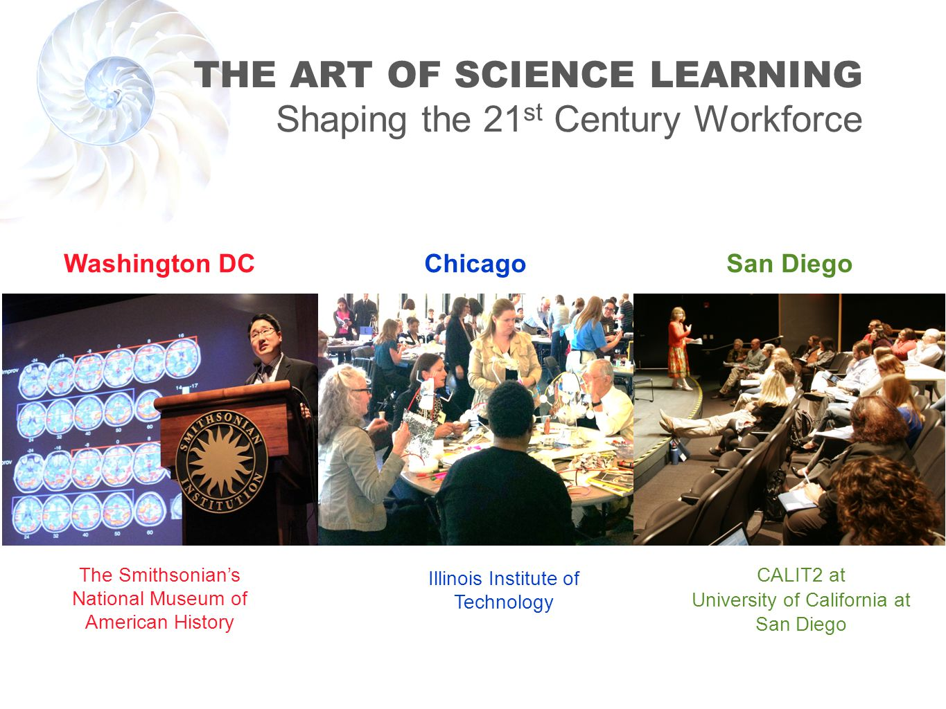 THE ART OF SCIENCE LEARNING Shaping the 21 st Century Workforce Washington DC The Smithsonians National Museum of American History Chicago Illinois Institute of Technology San Diego CALIT2 at University of California at San Diego