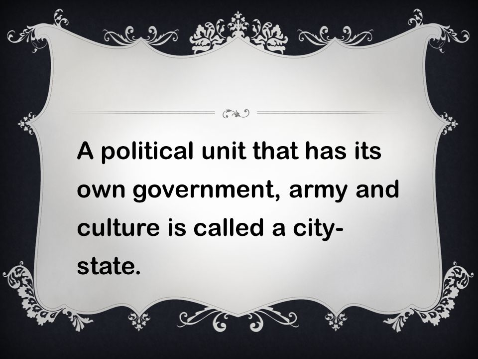 A political unit that has its own government, army and culture is called a city- state.