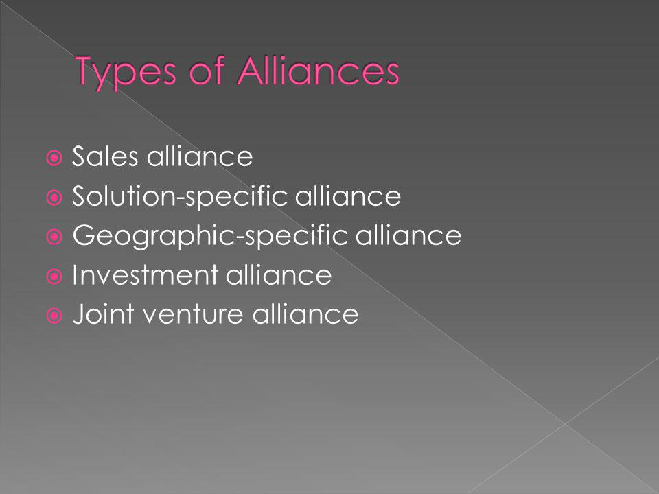 Sales alliance Solution-specific alliance Geographic-specific alliance Investment alliance Joint venture alliance