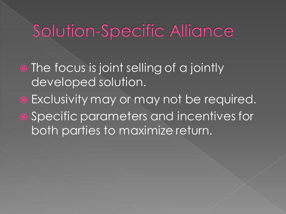 The focus is joint selling of a jointly developed solution.