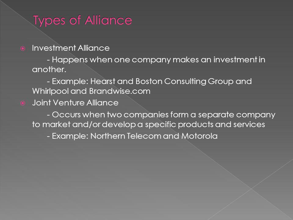 Investment Alliance - Happens when one company makes an investment in another.