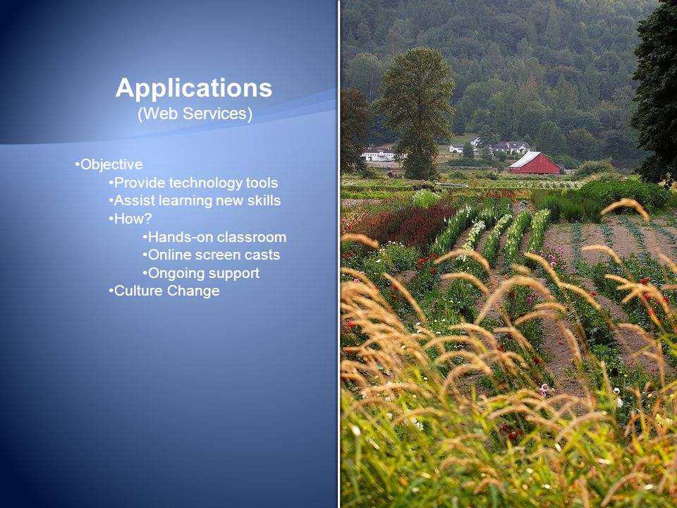 Applications (Web Services) Objective Provide technology tools Assist learning new skills How.