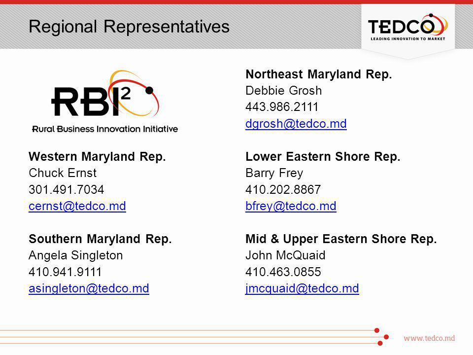 Regional Representatives Western Maryland Rep.