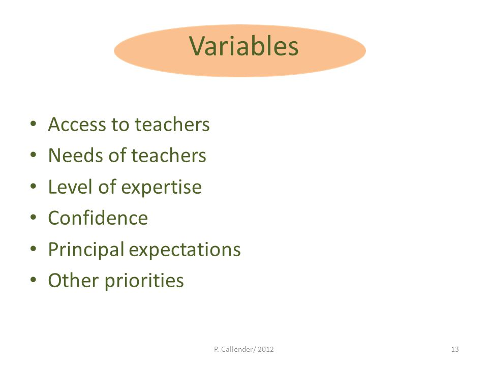 Variables Access to teachers Needs of teachers Level of expertise Confidence Principal expectations Other priorities P.