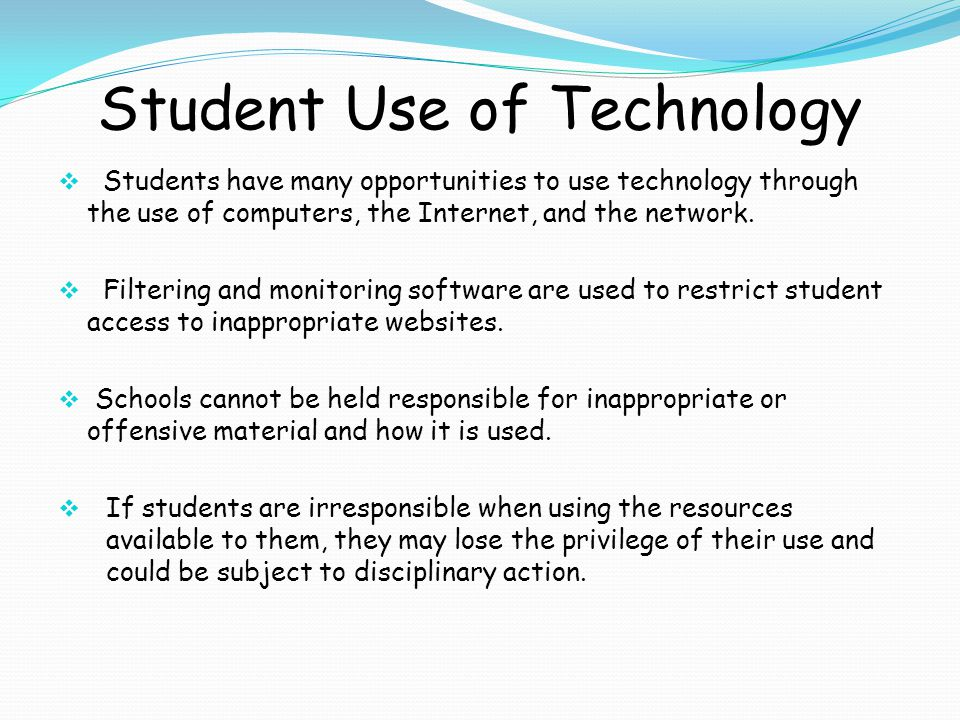 Acceptable Use for Students Student e-mail accounts are available for educational purposes.