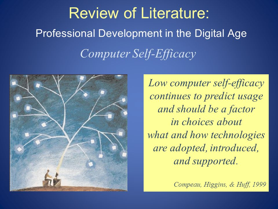 Review of Literature: Professional Development in the Digital Age Computer Self-Efficacy Low computer self-efficacy continues to predict usage and should be a factor in choices about what and how technologies are adopted, introduced, and supported.