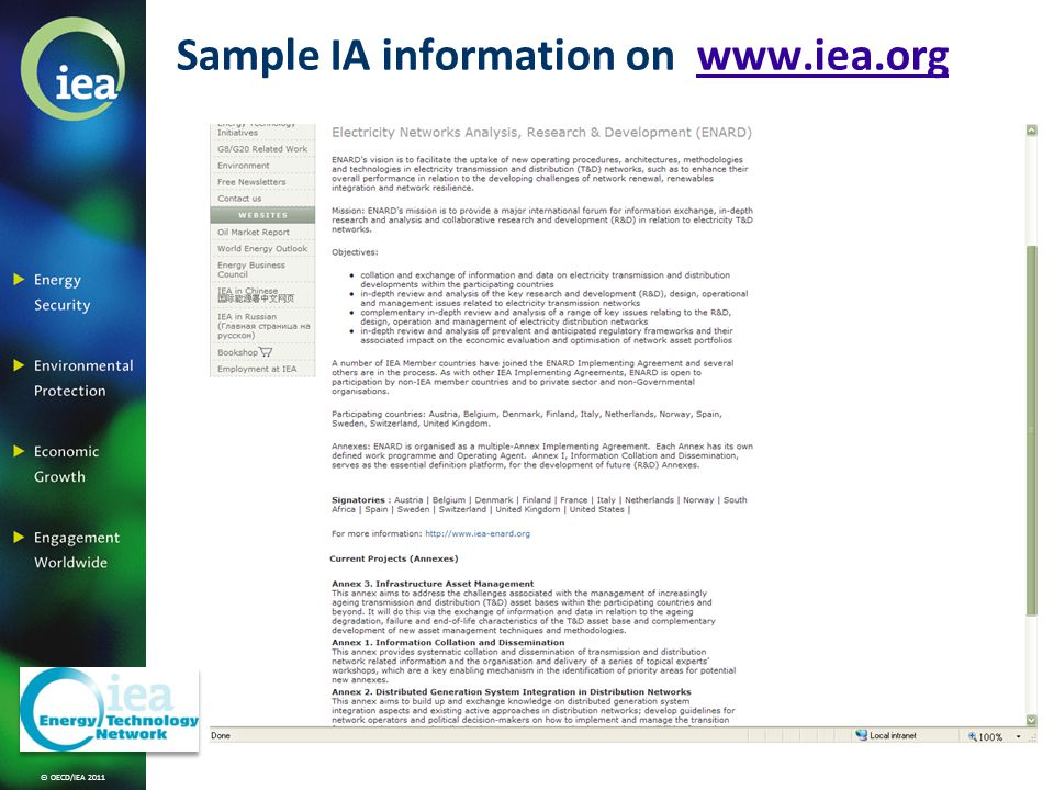 © OECD/IEA 2011 Sample IA information on www.iea.orgwww.iea.org