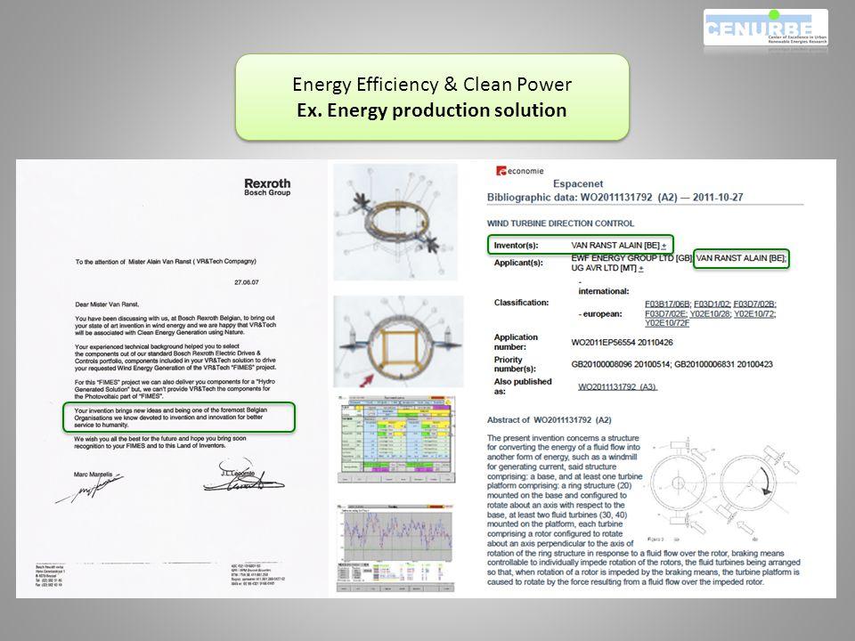 Energy Efficiency & Clean Power Ex. Energy production solution Energy Efficiency & Clean Power Ex.