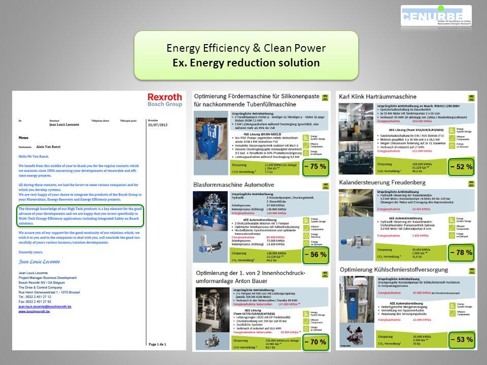 Energy Efficiency & Clean Power Ex. Energy reduction solution Energy Efficiency & Clean Power Ex.