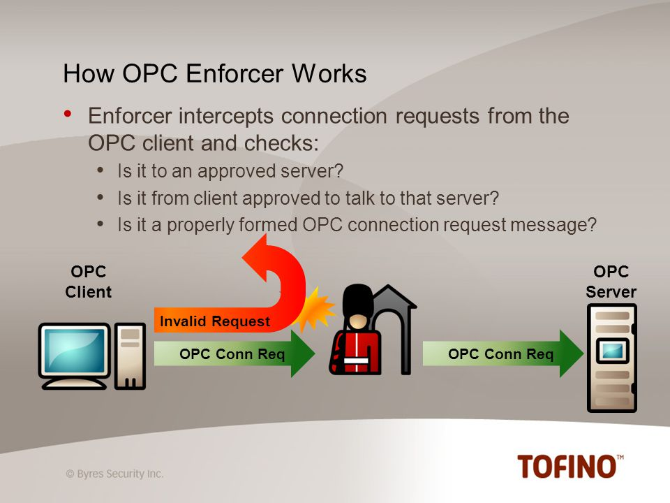 Loadable security module that makes the Tofino Firewall OPC-aware Uses deep packet inspection technology to manage OPC traffic behind the scenes What is the Tofino OPC Classic Enforcer?