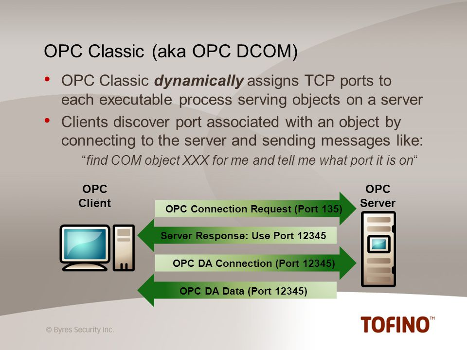 OPC Classic dynamically assigns TCP ports to each executable process serving objects on a server Clients discover port associated with an object by connecting to the server and sending messages like: find COM object XXX for me and tell me what port it is on OPC Classic (aka OPC DCOM) OPC Server OPC Connection Request (Port 135) OPC DA Connection (Port 12345) Server Response: Use Port 12345 OPC DA Data (Port 12345) OPC Client