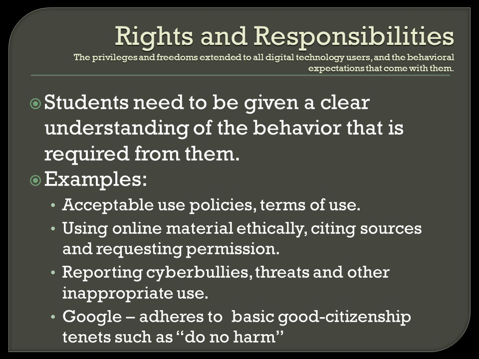 Students need to be given a clear understanding of the behavior that is required from them. Examples: Acceptable use policies, terms of use. Using onl