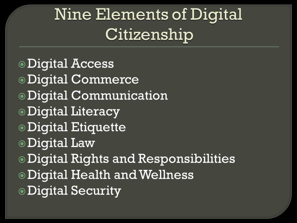 Digital Access Digital Commerce Digital Communication Digital Literacy Digital Etiquette Digital Law Digital Rights and Responsibilities Digital Healt