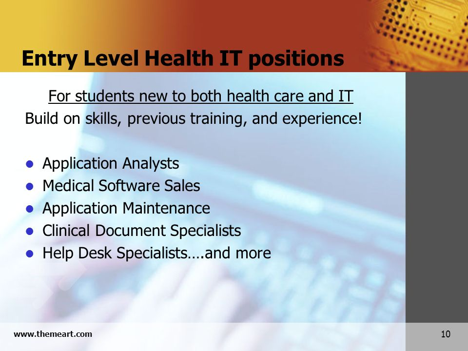 10 www.themeart.com Entry Level Health IT positions For students new to both health care and IT Build on skills, previous training, and experience.