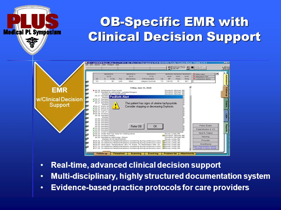 OB-Specific EMR with Clinical Decision Support Real-time, advanced clinical decision support Multi-disciplinary, highly structured documentation system Evidence-based practice protocols for care providers EMR w/Clinical Decision Support