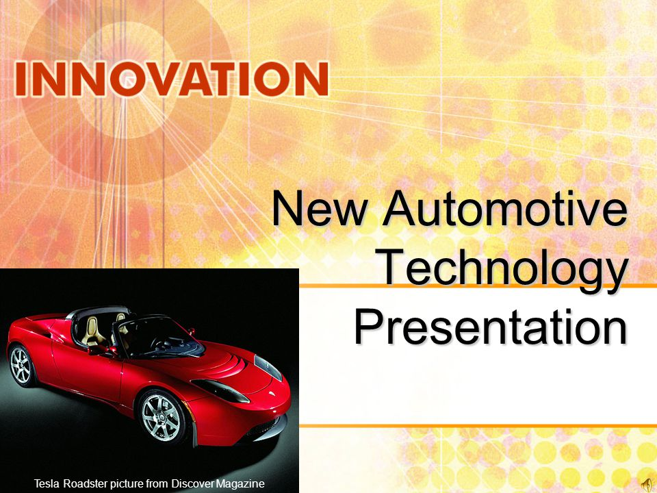 New Automotive Technology Presentation Tesla Roadster picture from Discover Magazine