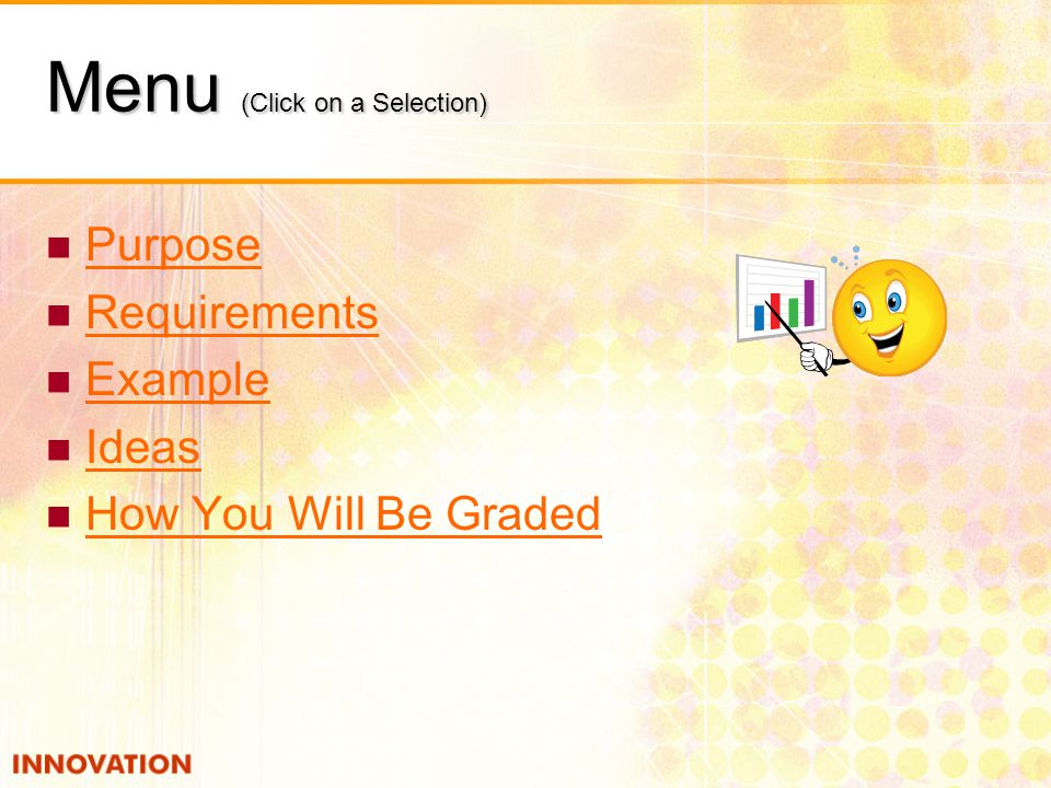 Menu (Click on a Selection) Purpose Requirements Example Ideas How You Will Be Graded