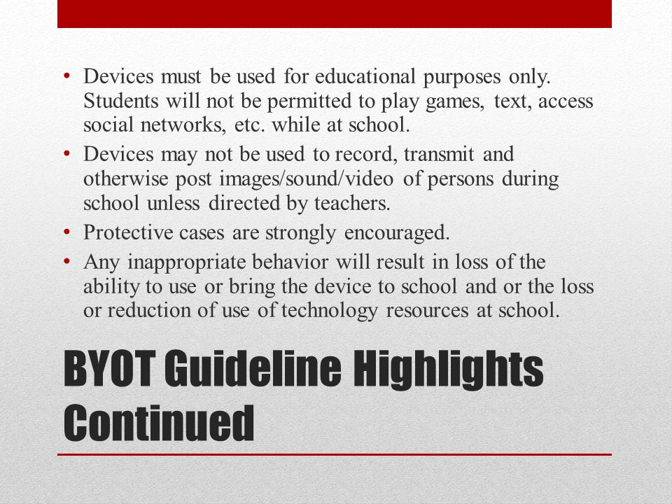 BYOT Possible Uses