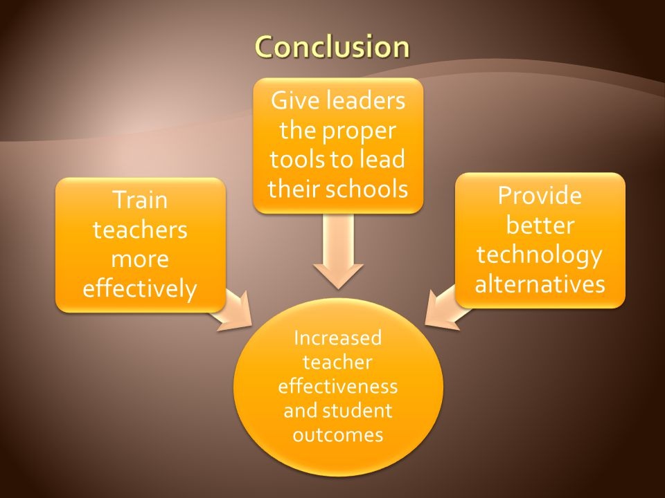 Increased teacher effectiveness and student outcomes Train teachers more effectively Give leaders the proper tools to lead their schools Provide bette