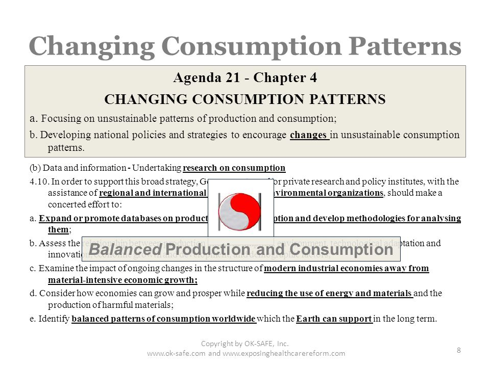 Changing Consumption Patterns Agenda 21 - Chapter 4 CHANGING CONSUMPTION PATTERNS a.