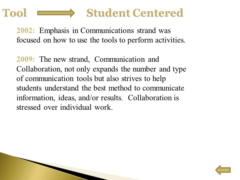 2002: Emphasis in Communications strand was focused on how to use the tools to perform activities.