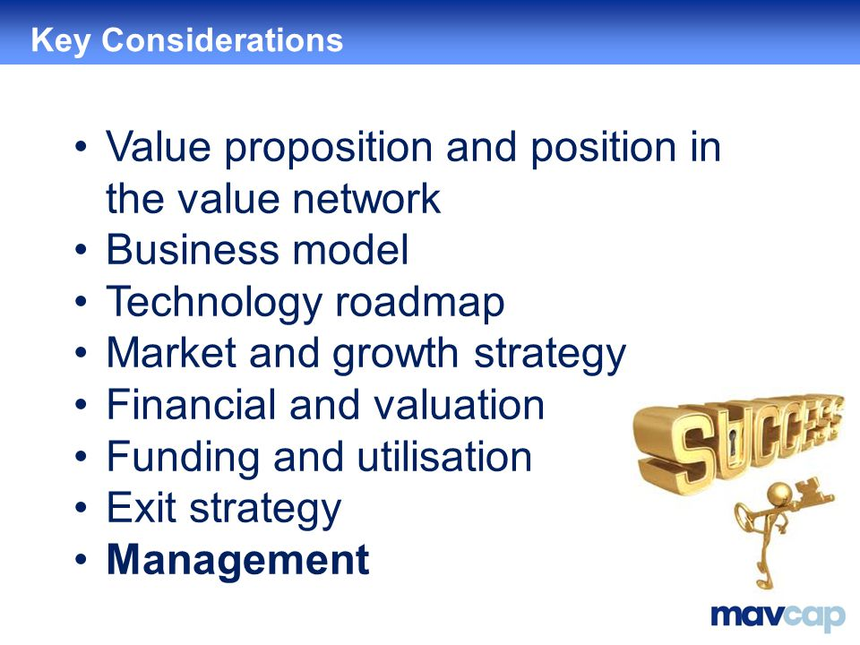 Value proposition and position in the value network Business model Technology roadmap Market and growth strategy Financial and valuation Funding and utilisation Exit strategy Management Key Considerations