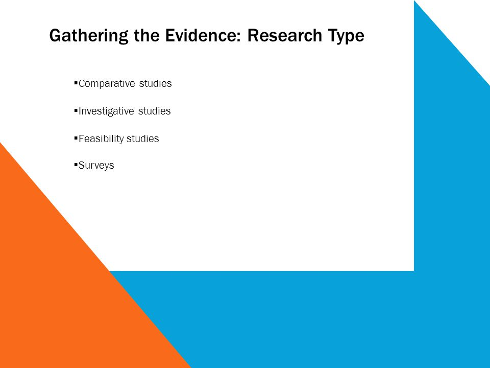 Gathering the Evidence: Research Type Comparative studies Investigative studies Feasibility studies Surveys