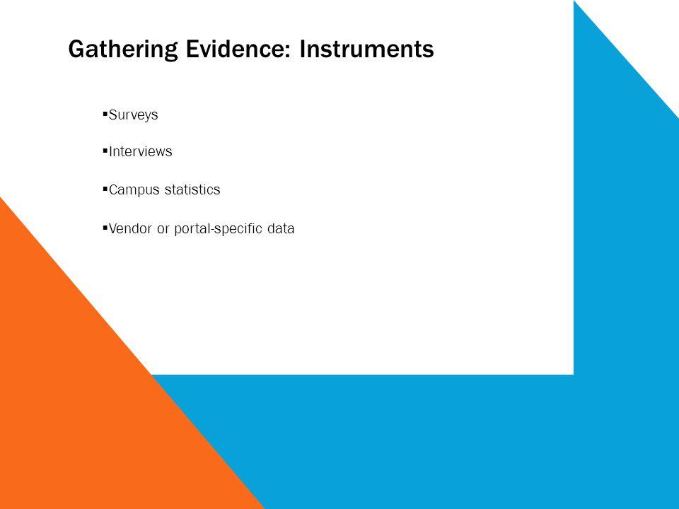 Gathering Evidence: Instruments Surveys Interviews Campus statistics Vendor or portal-specific data