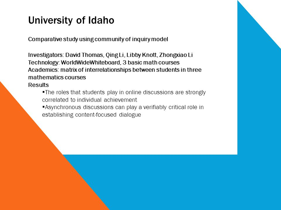 University of Idaho Comparative study using community of inquiry model Investigators: David Thomas, Qing Li, Libby Knott, Zhongxiao Li Technology: WorldWideWhiteboard, 3 basic math courses Academics: matrix of interrelationships between students in three mathematics courses Results The roles that students play in online discussions are strongly correlated to individual achievement Asynchronous discussions can play a verifiably critical role in establishing content-focused dialogue