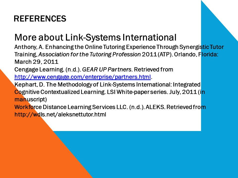REFERENCES More about Link-Systems International Anthony, A. Enhancing the Online Tutoring Experience Through Synergistic Tutor Training, Association