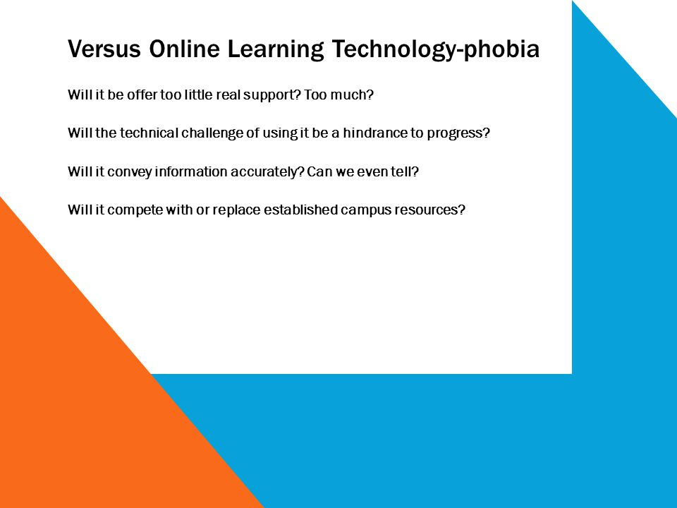 Versus Online Learning Technology-phobia Will it be offer too little real support? Too much? Will the technical challenge of using it be a hindrance t