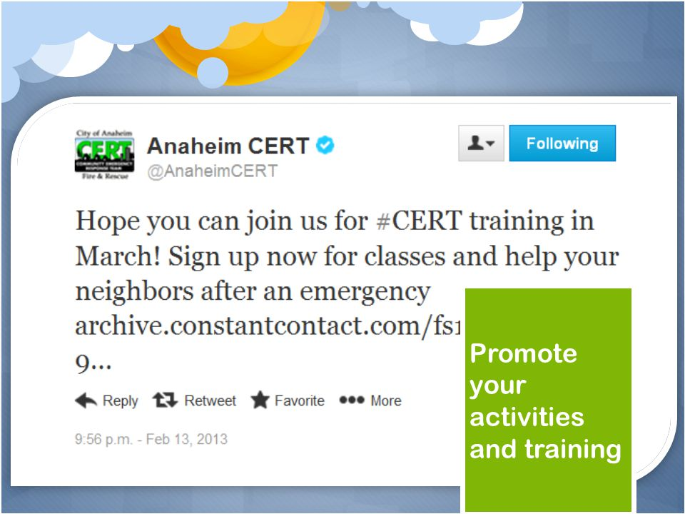 Promote your activities and training