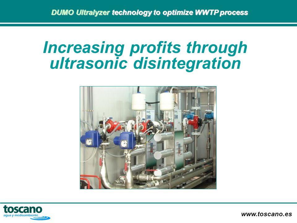 www.toscano.es DUMO Ultralyzer technology to optimize WWTP process DUMO Ultralyzer technology to optimize WWTP process RESULTS Increase in VS degradation by 24%.